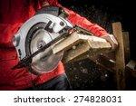 Close Up Of Carpenter Cutting ...