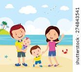 family fun at the beach. family ... | Shutterstock .eps vector #274843541