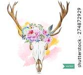 watercolor vector deer head... | Shutterstock .eps vector #274872929
