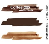 Coffee Brown Colors Watercolor...