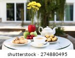 tea time with chocolate and... | Shutterstock . vector #274880495