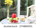 tea time with chocolate and... | Shutterstock . vector #274880501