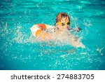 happy child playing in swimming ... | Shutterstock . vector #274883705