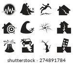 black earthquake icons set | Shutterstock .eps vector #274891784