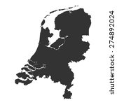 grey map of netherlands | Shutterstock .eps vector #274892024