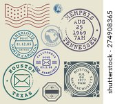 retro postage stamps set ... | Shutterstock .eps vector #274908365