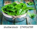 Raw Fresh Organic Spinach In A...