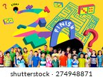 kids maze puzzle game fun... | Shutterstock . vector #274948871