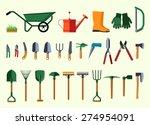Set Of Various Gardening Items. ...