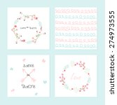 set of wedding card or... | Shutterstock .eps vector #274973555