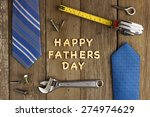 happy fathers day wooden... | Shutterstock . vector #274974629