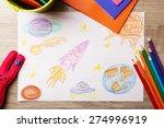 kids drawing on white sheet of...   Shutterstock . vector #274996919