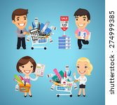 buyers in stationery shop. in... | Shutterstock .eps vector #274999385