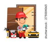 carpenter installs the door.... | Shutterstock .eps vector #275004065