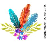 hand painted watercolor boho... | Shutterstock .eps vector #275012345