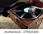 Gramophone With Vinyl Record On ...