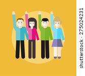 volunteer group raising hands... | Shutterstock . vector #275024231