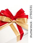 big red  gold bow on white... | Shutterstock . vector #27502531