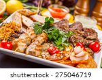 mixed grilled meat and... | Shutterstock . vector #275046719