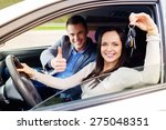 happy driving student with a... | Shutterstock . vector #275048351