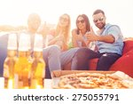 we love pizza and beer  four... | Shutterstock . vector #275055791
