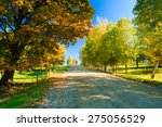 truck moving down a rural road... | Shutterstock . vector #275056529