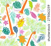 funny joyful tropical seamless... | Shutterstock .eps vector #275062259