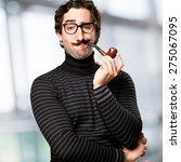 Small photo of pedantic man with a pipe