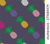 seamless summer pineapple fruit ... | Shutterstock .eps vector #275085479