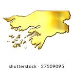guinea bissau 3d golden map | Shutterstock . vector #27509095