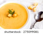 cream soup with croutons and... | Shutterstock . vector #275099081