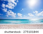 Sunny Beach With White Sand...