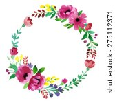 floral frame. cute succulents... | Shutterstock .eps vector #275112371