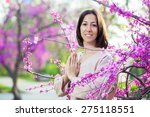 woman doing yoga on the... | Shutterstock . vector #275118551