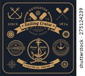 vintage nautical labels logo... | Shutterstock .eps vector #275124239