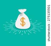 Shining Money Bag Icon. Dollar...