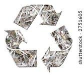 Three arrow paper recycling symbol - stock photo