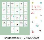 cute alphabet . vocabulary... | Shutterstock .eps vector #275209025