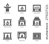 Fireplace Icons Set Vector Fla...