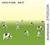 set of vector cow on field | Shutterstock .eps vector #275231234