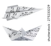 Origami Boat And Airplane With...