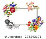 Colorful Floral Frame With...
