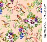 watercolor wild exotic birds on ... | Shutterstock . vector #275251139