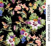 watercolor wild exotic birds on ... | Shutterstock . vector #275251334