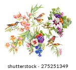 Watercolor Wild Exotic Birds O...
