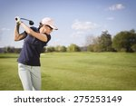 Close up of woman golf player...