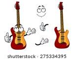 smiling cartoon guitar...