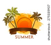 grungy tropical palm tree... | Shutterstock .eps vector #275335937