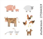 farm animals in flat style  cow ... | Shutterstock .eps vector #275344319