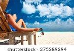 Woman At Beautiful Beach...